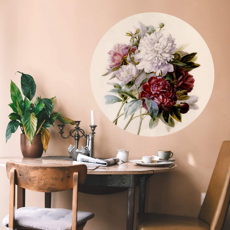 Wall sticker round Redoute - Roses