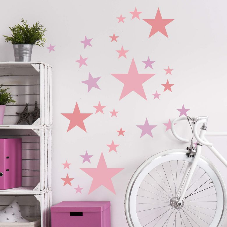 Wall sticker set stars pastel pink