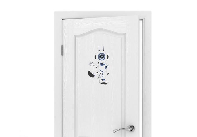 Wandtattoo Türspion Robot 02