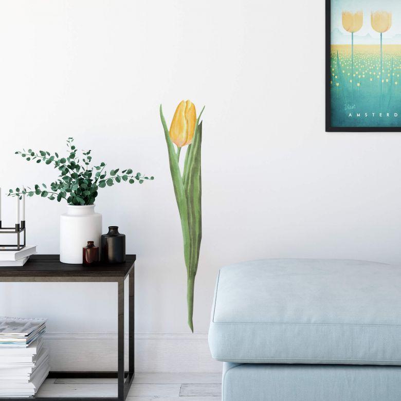 Adesivo murale Tulipano giallo