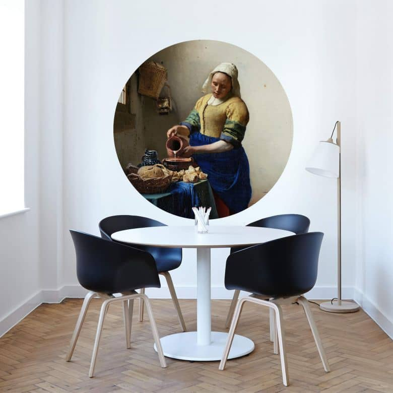 Wandtattoo Vermeer - Das Mädchen mit dem Milchkrug - rund