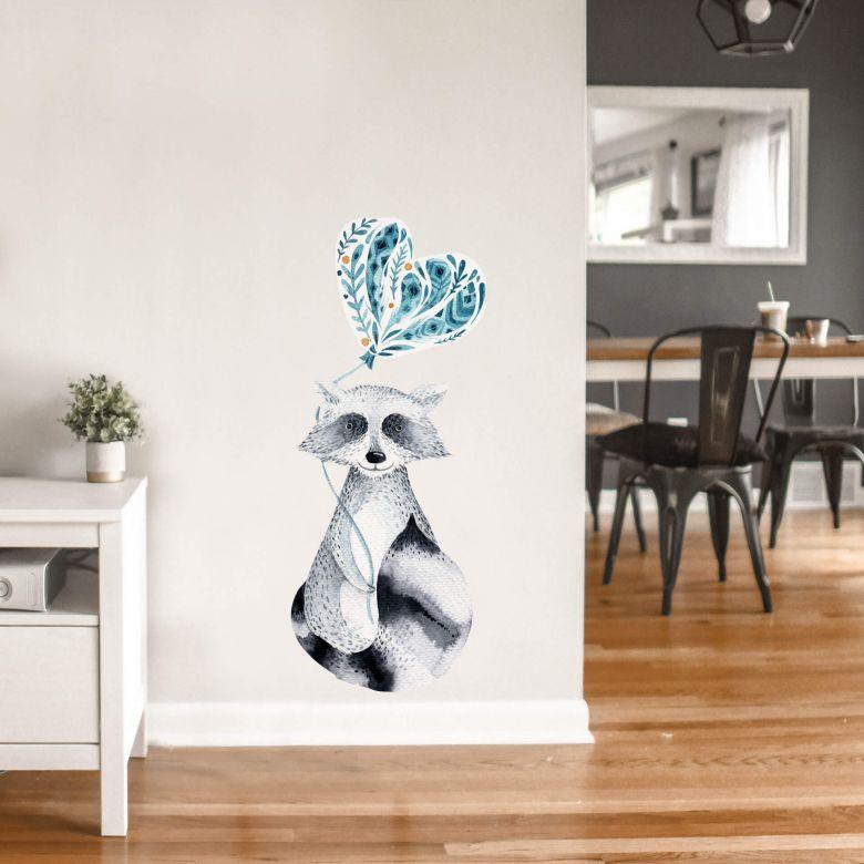 Wandtattoo Kvilis - Waschbär mit Herzluftballon