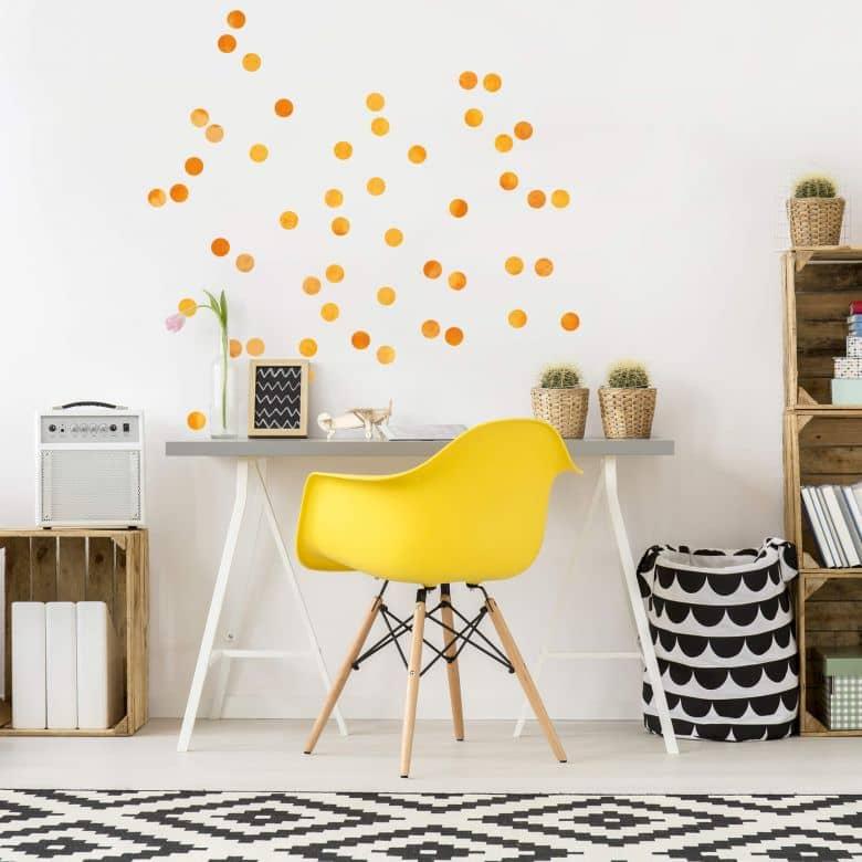 Wandtattoo Watercolor Punkte Set orange (50-teilig)