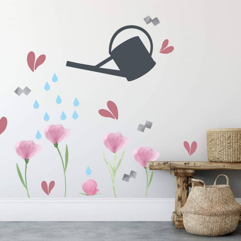 Wall sticker set - Watering Can with Flowers