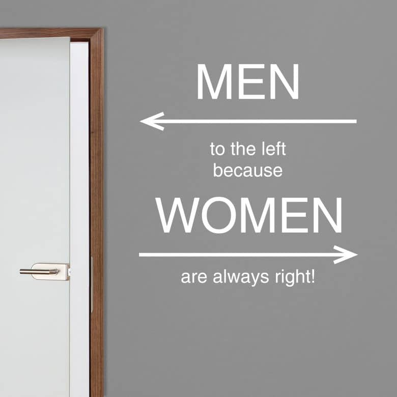 Wandtattoo - WC - women are always right!