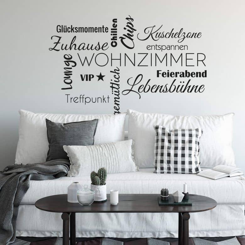 Wandtattoo Wohnzimmer Wortwolke