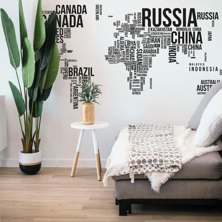 World Map Typograhy Wall sticker