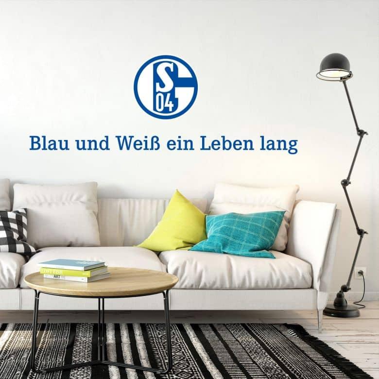 Wandtattoo Schalke 04 Blau und Weiß ein Leben lang