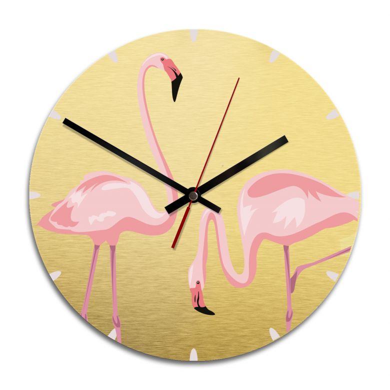 Wanduhr Alu-Dibond-Goldeffekt - Flamingo 04 - Ø 28cm