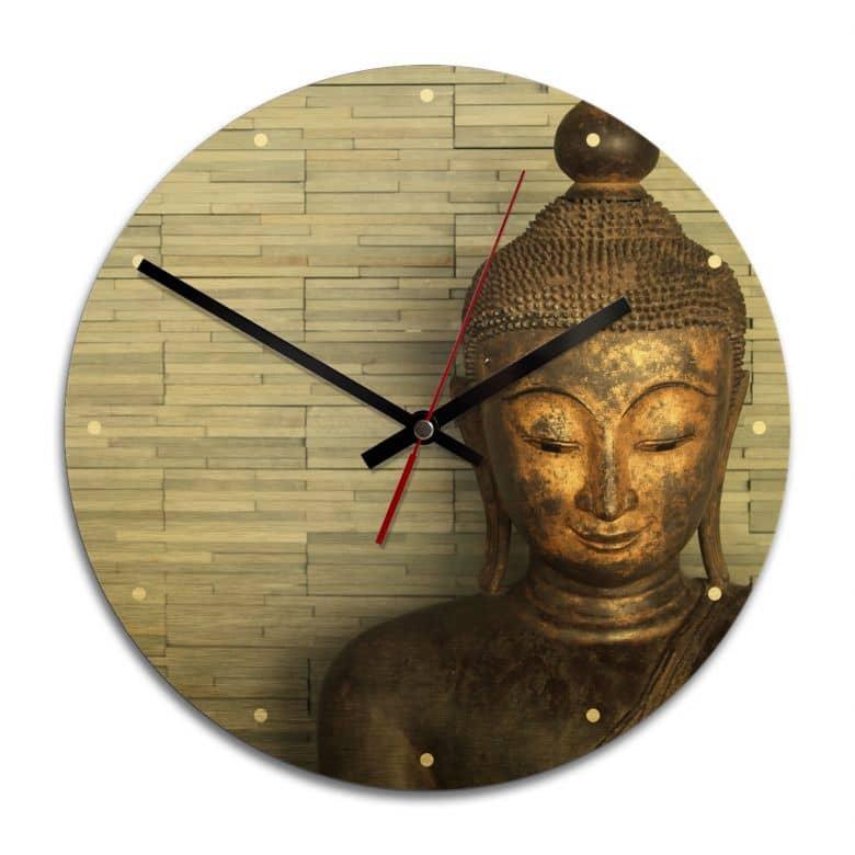 Wanduhr Alu-Dibond-Goldeffekt - Thailand Buddha - Ø 28 cm