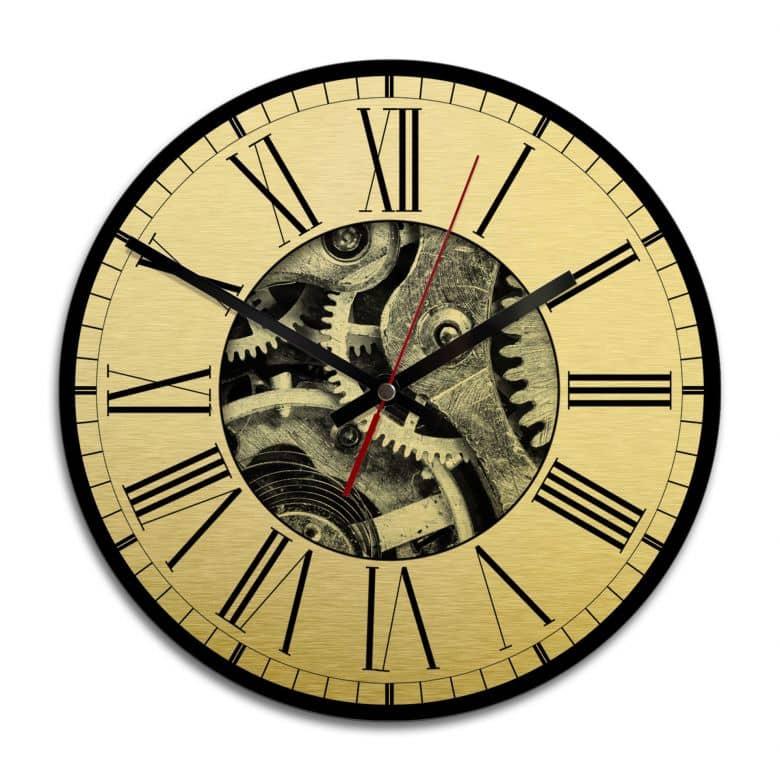Wanduhr Alu-Dibond-Goldeffekt - Uhrwerk 02 - Ø 28 cm