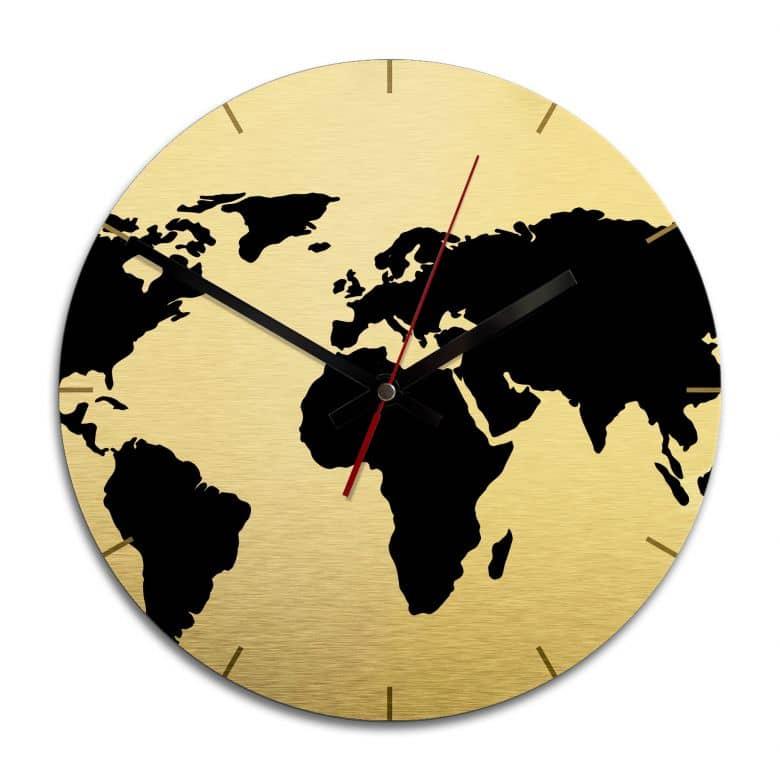 Wandklok Wereldkaart Alu-Dibond Goud effect  Ø 28 cm