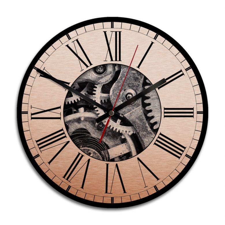 Wanduhr Alu-Dibond-Kupfereffekt - Uhrwerk 02 - Ø 28 cm