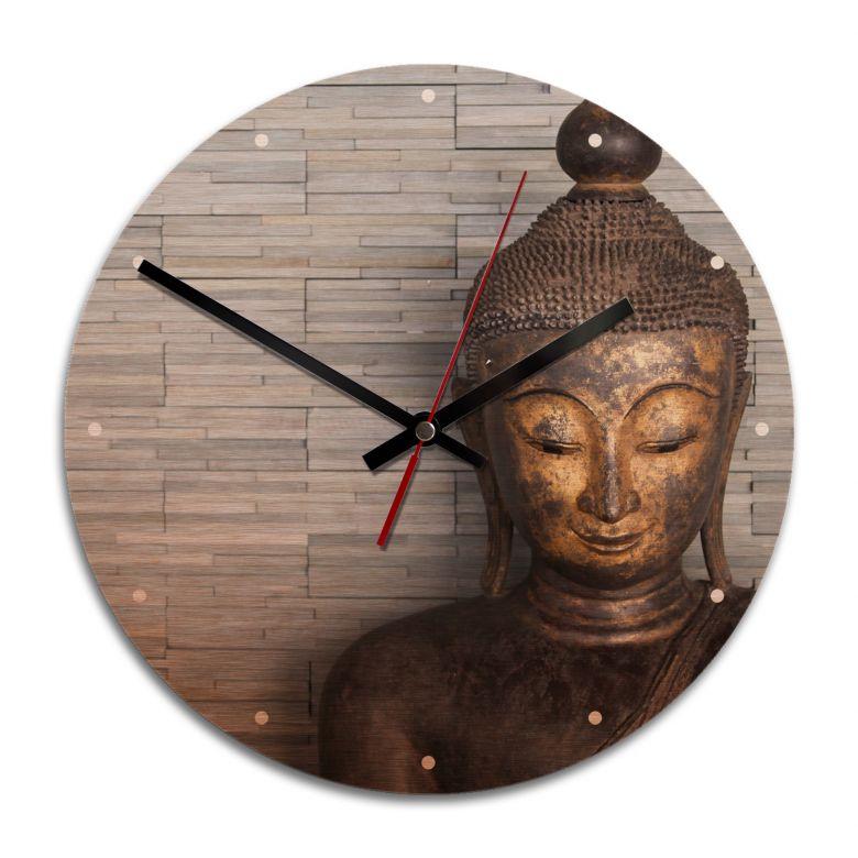 Wanduhr Alu-Dibond-Kupfereffekt - Thailand Buddha - Ø 28 cm