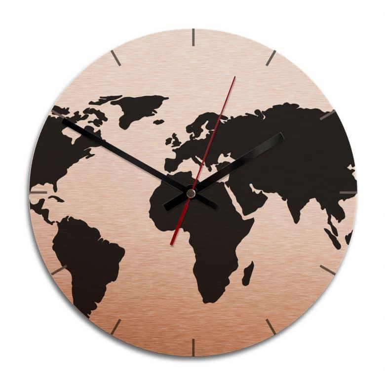 Wanduhr Alu-Dibond-Kupfereffekt - Weltkarte - Ø 28 cm