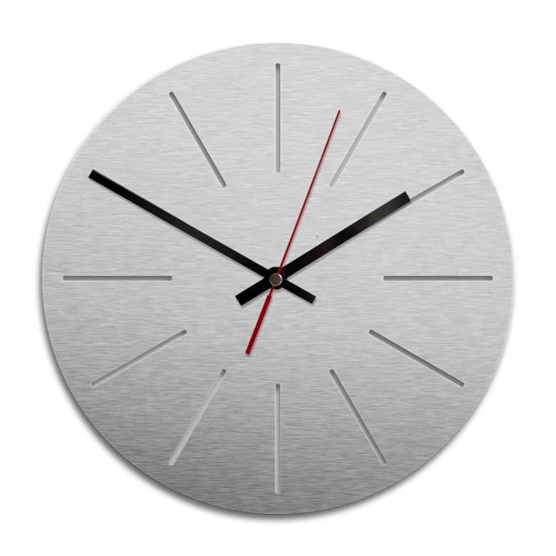 Wanduhr Alu-Dibond-Silbereffekt - Klassisch 01 - Ø 28 cm