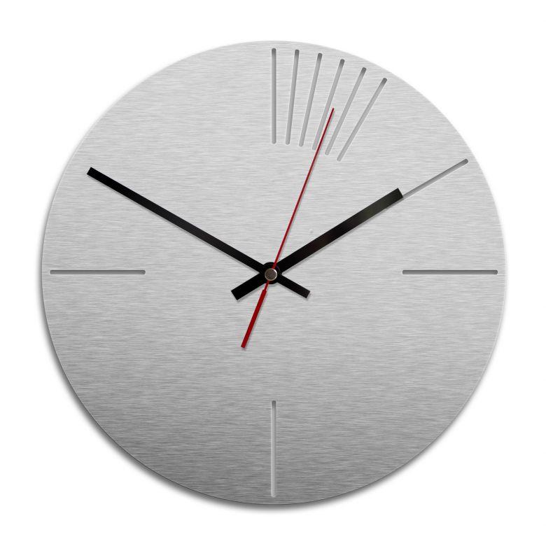 Wanduhr Alu-Dibond-Silbereffekt - Klassisch 02 - Ø 28 cm