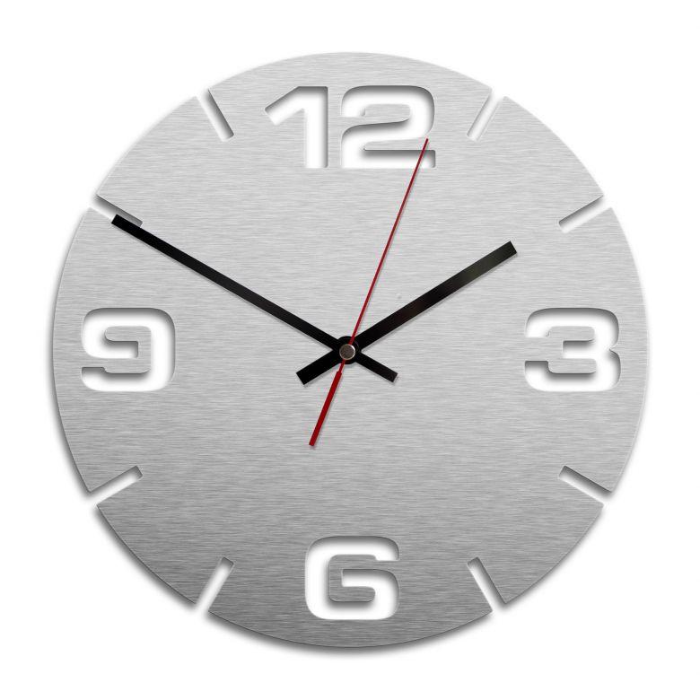 Wall Clock Alu-Dibond Silver Ø 28 cm