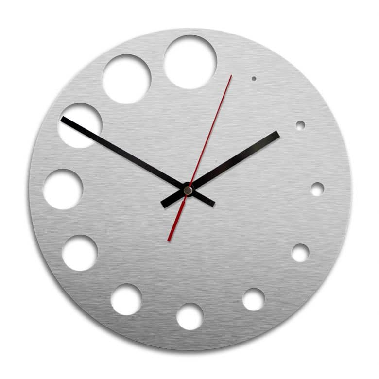 Orologio Alu-Dibond argentato - Pois