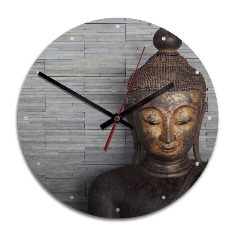 Wanduhr Alu-Dibond-Silbereffekt - Thailand Buddha - Ø 28 cm