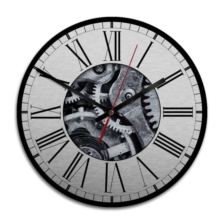 Horloge murale en Alu-Dibond - Argenté - Mécanisme apparent 02