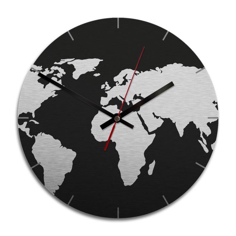 Wanduhr Alu-Dibond-Silbereffekt - Weltkarte negativ -Ø 28 cm