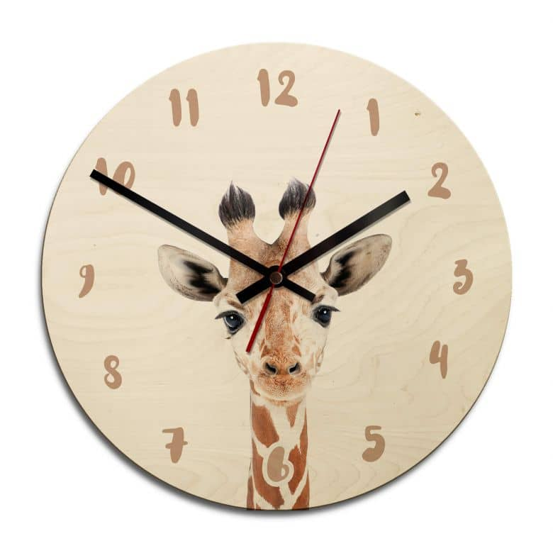 Holz-Wanduhr Sisi & Seb - Baby Giraffe