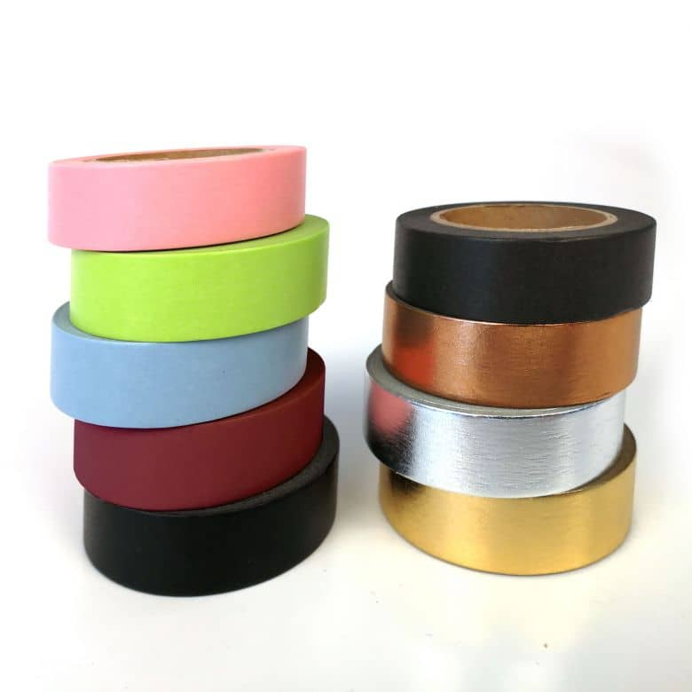 Washi Tape Plain Coloured – in 9 colours