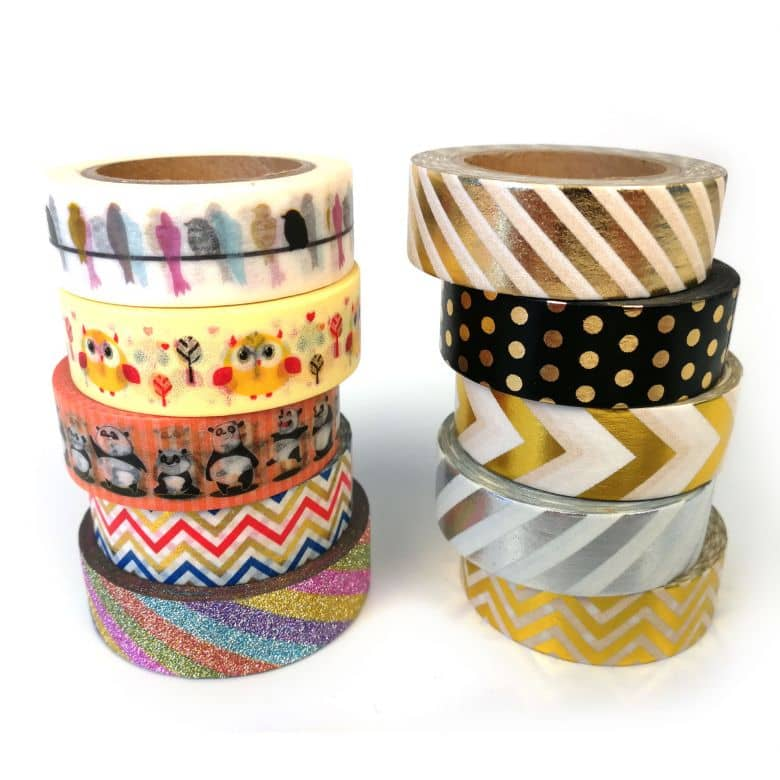 Nastri adesivi colorati -Washi tape  in 10 diversi