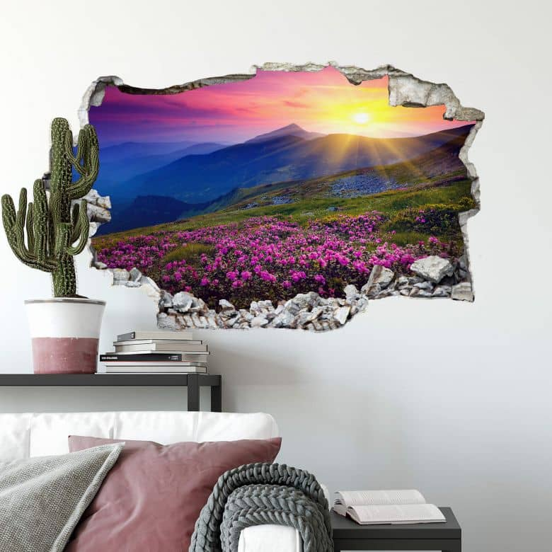 3D wall sticker Sunset in the mountains