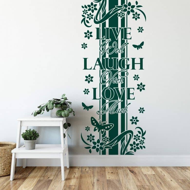 Muursticker Banner 'Live Laugh Love'