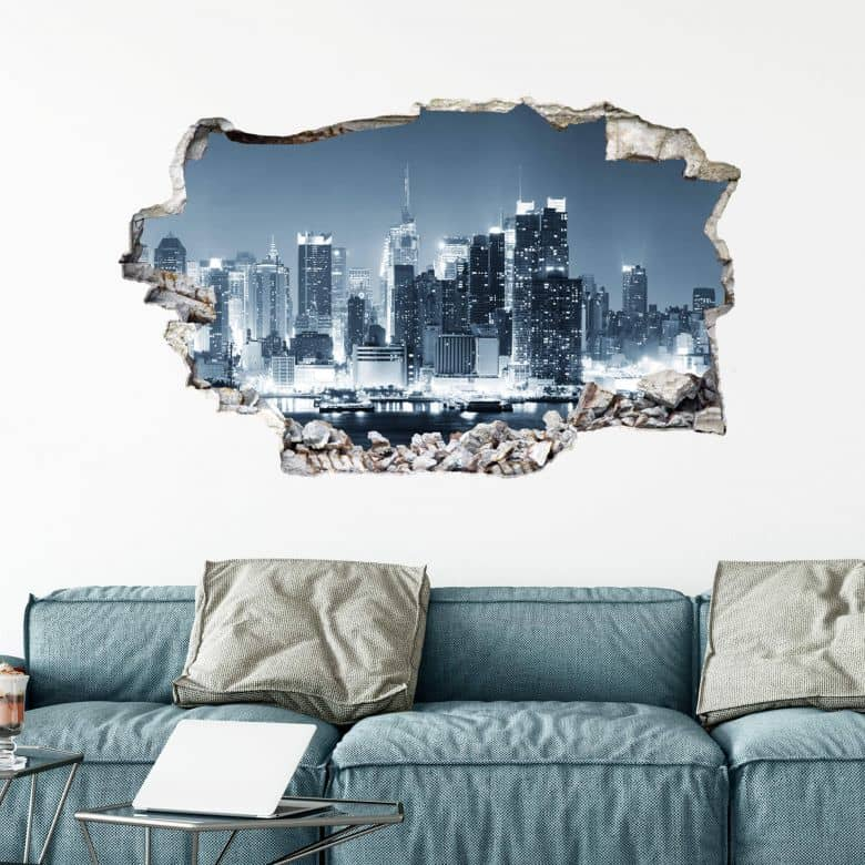 3D wall sticker New York at Night 01