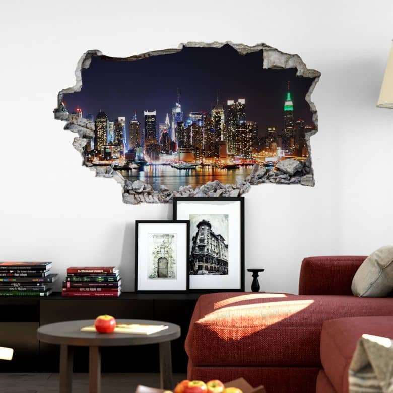3D wall sticker New York skyline