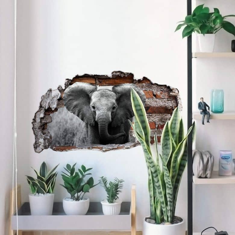 3D Muursticker Jumbo het Olifantje