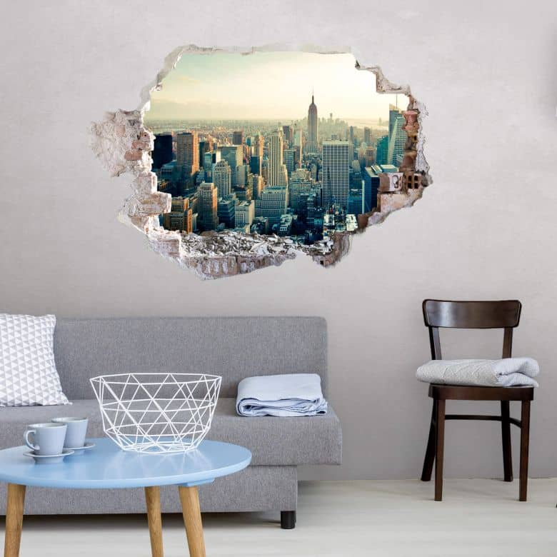 3d wandtattoo skyline von new york city wall. Black Bedroom Furniture Sets. Home Design Ideas