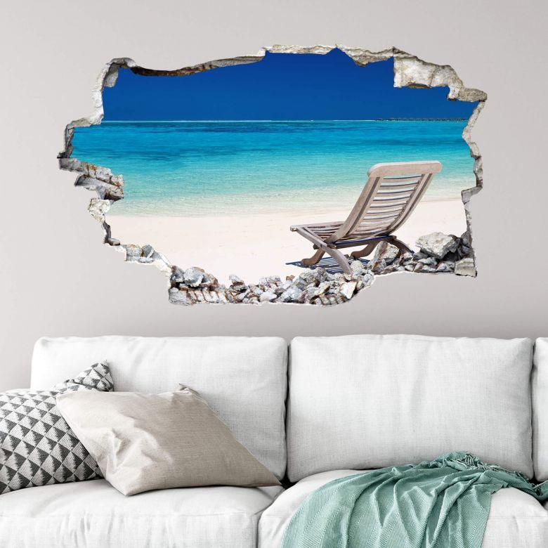 Sticker mural 3D Plage des mers du sud