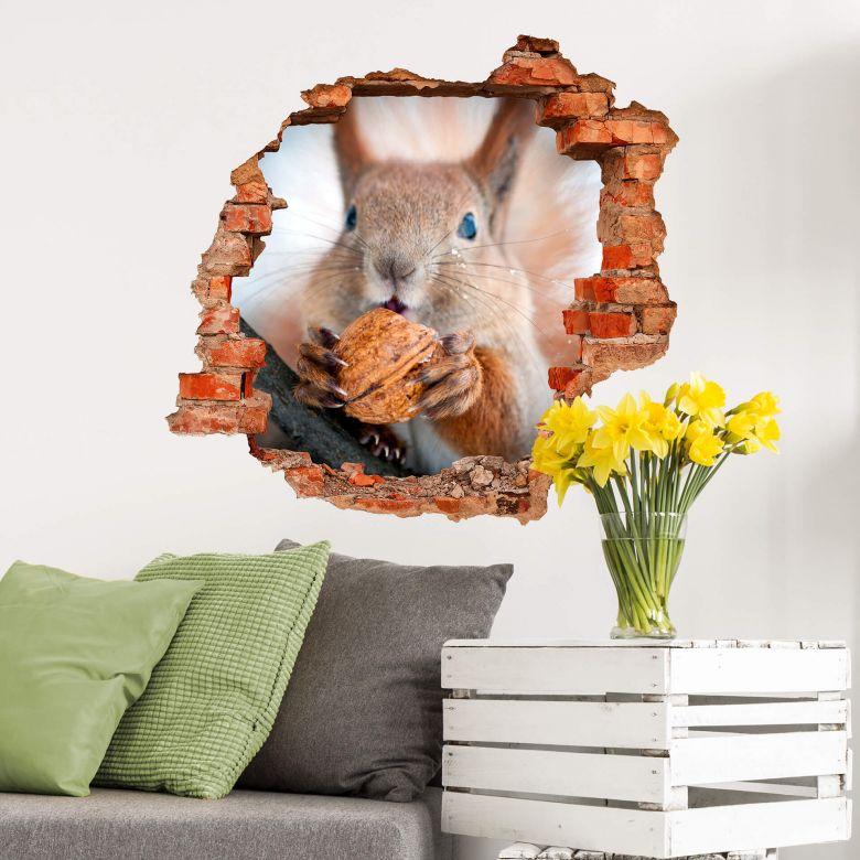 3D wall sticker Little Squirrel