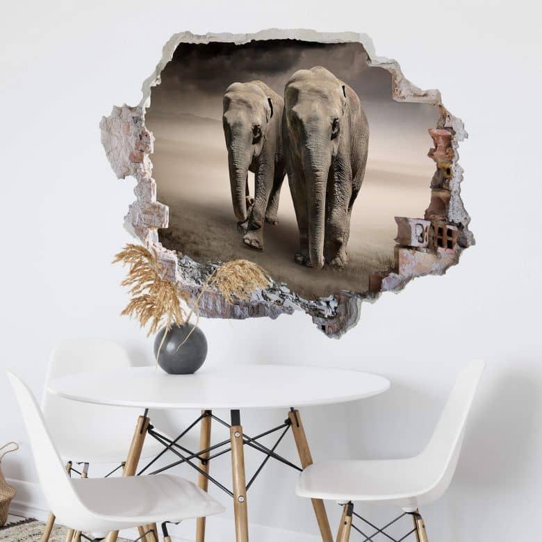 3D Muursticker Twee Olifanten