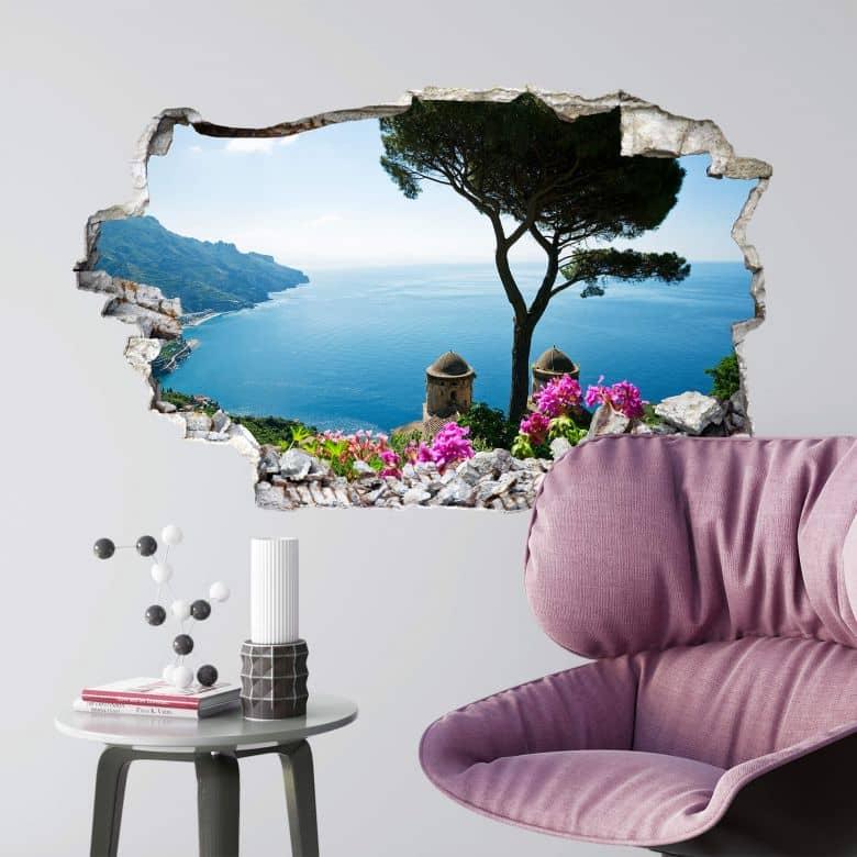 Sticker mural 3D Vue sur la côte amalfitaine