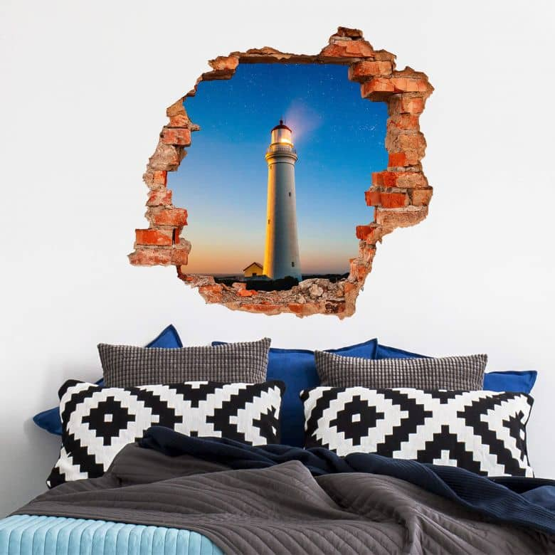 3D Wandtattoo Lighthouse in the dark