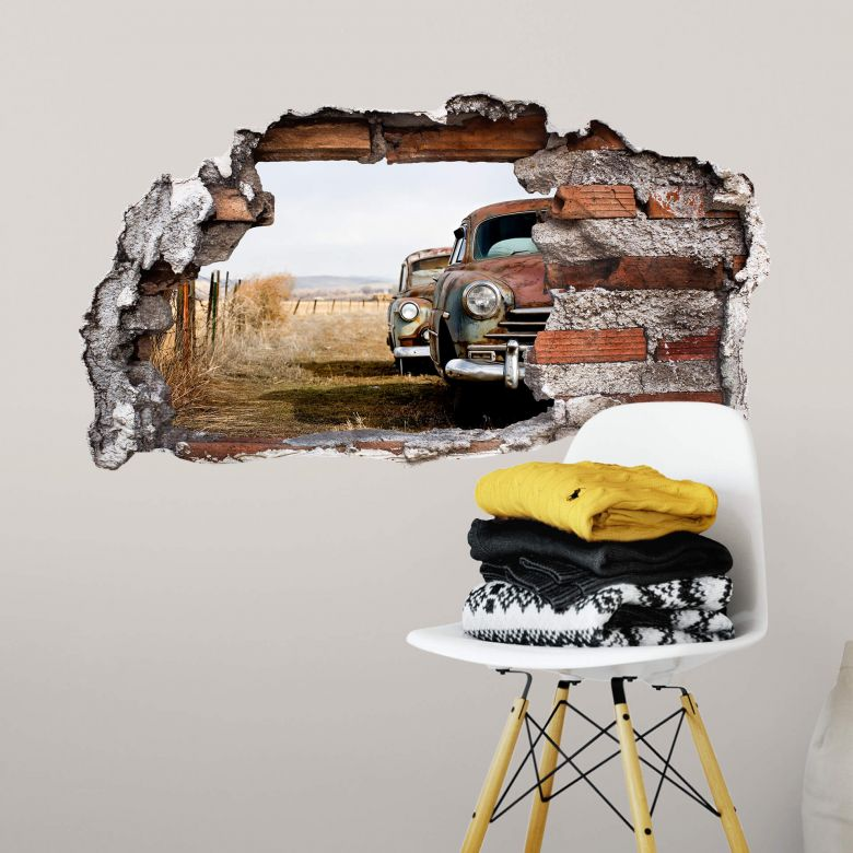 3D wall sticker Old Cars