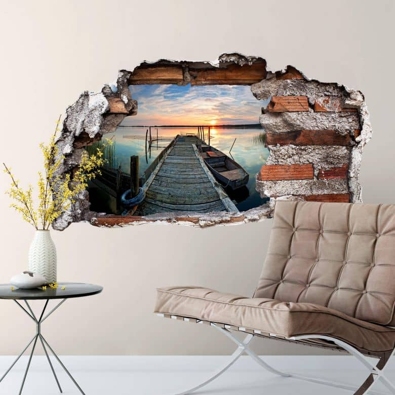 3D wall sticker Sunset at the Lake