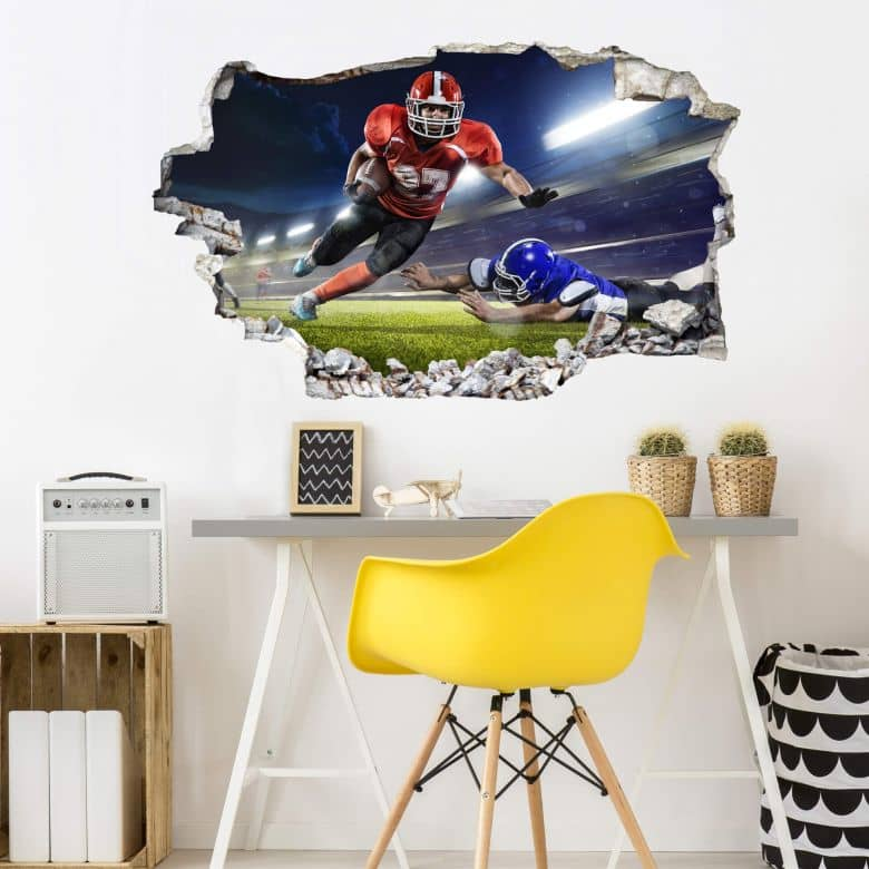 3D wall sticker American Football player 01