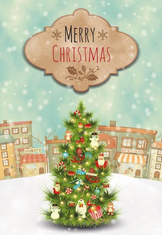 Gutschein Weihnachten - Weihnachtbaum - Merry Christmas
