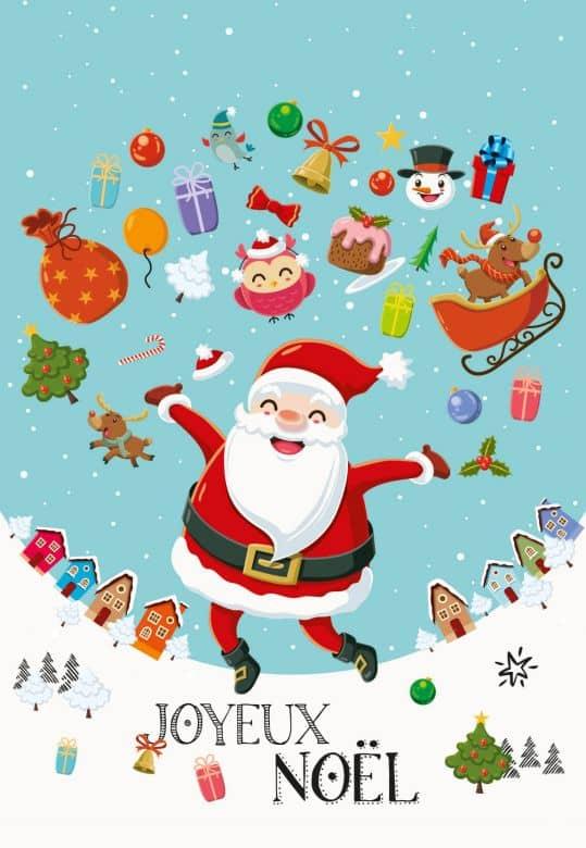 Gutschein Weihnachtsmann Geschenke Joyeux Noël