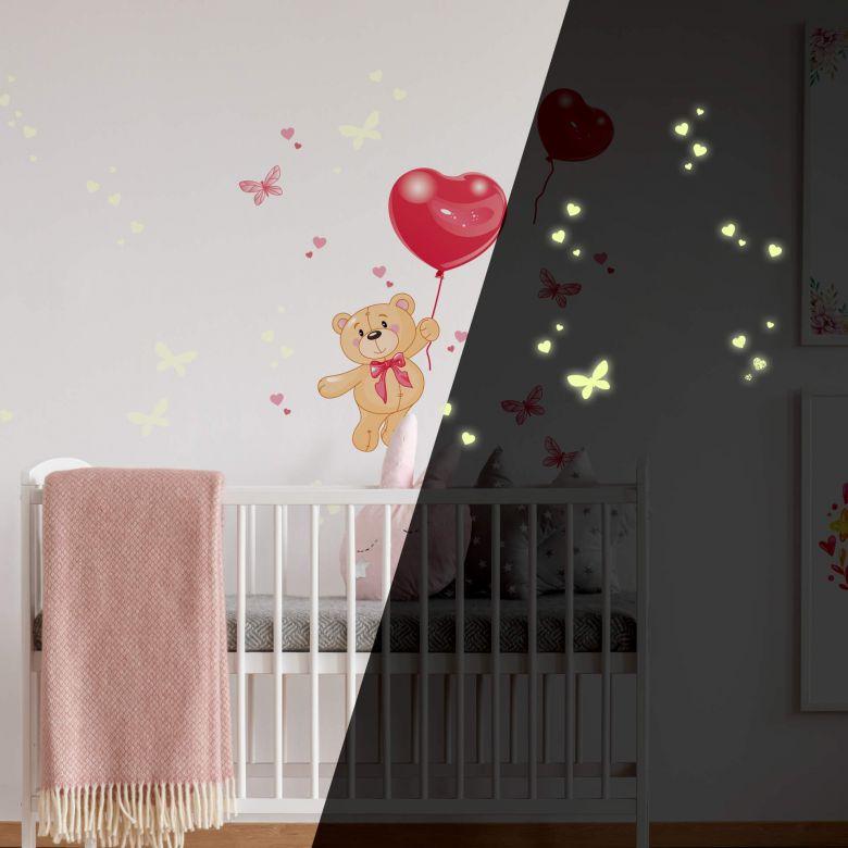 Sticker mural - Ours et ballons + sticker phosphorescent