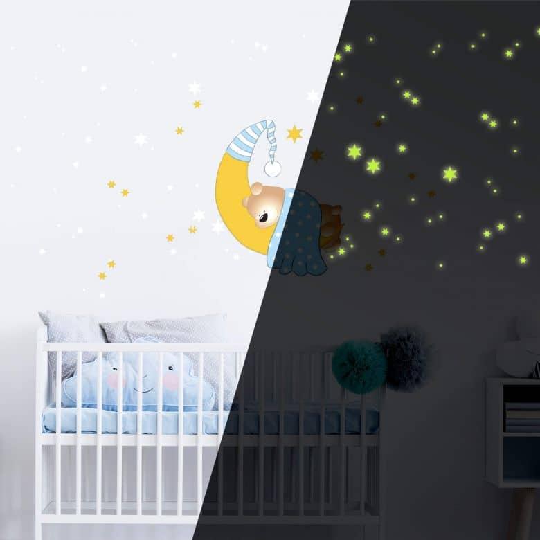 Wandtattoo Bärchen, Mond und Sterne (blau) + Leuchtsterne