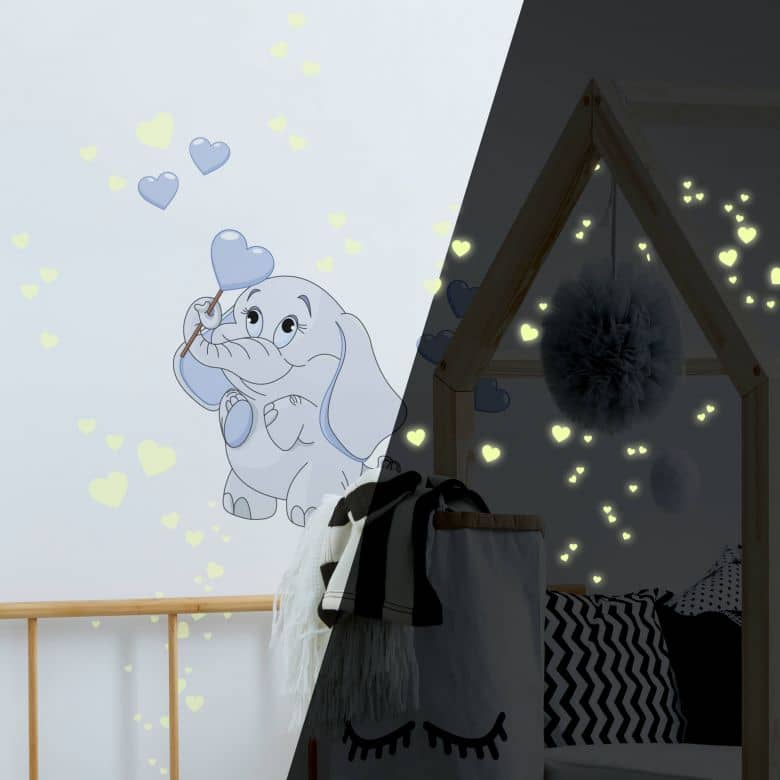 Baby Elephant with Hearts (blue) Wall Sticker + Glow in the Dark