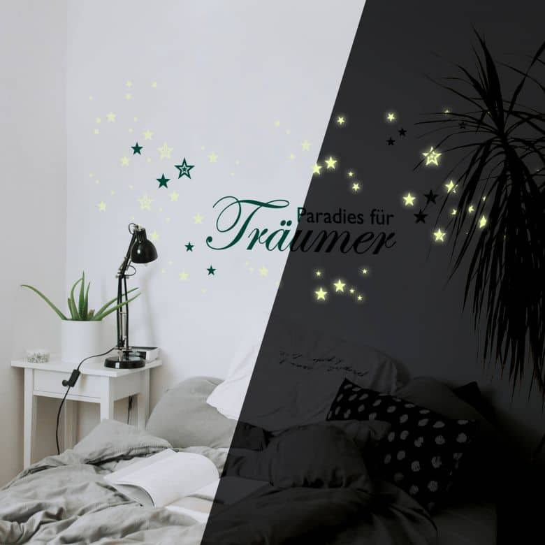 Sticker mural - Paradis pour les rêveurs + étoiles fluorescentes