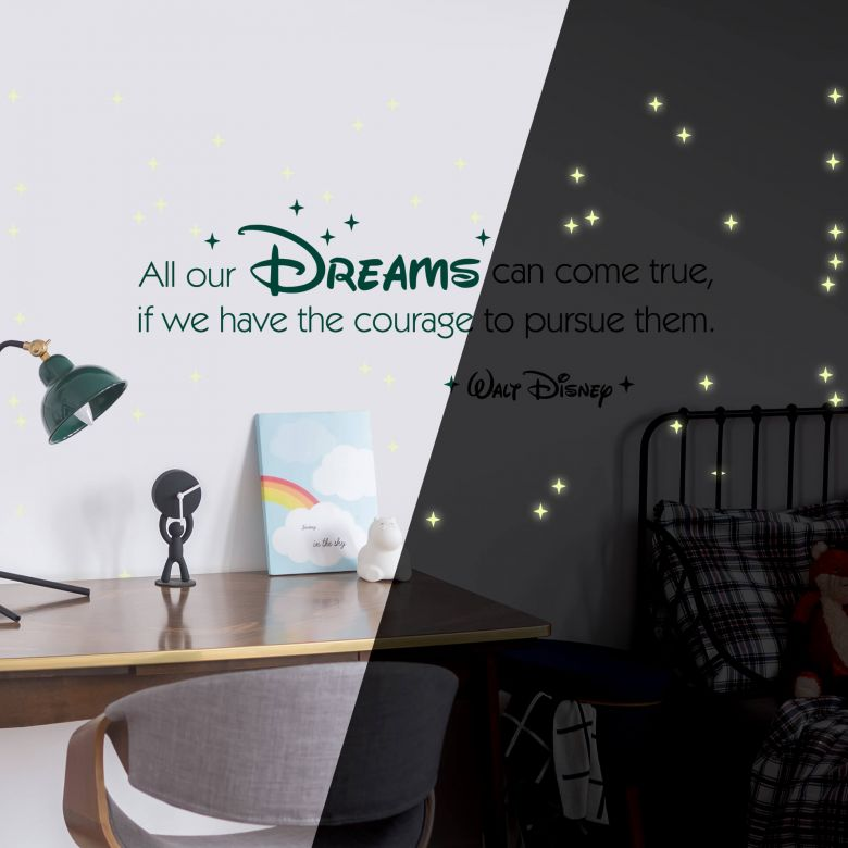 Sticker mural - All our dreams +étoiles fluorescentes